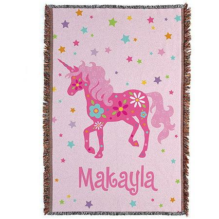 Personalized Pretty Unicorn Throw Blanket