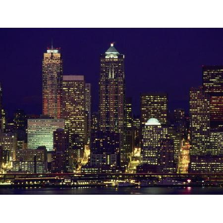 Night, Seattle Skyline, City Light Reflection, WA Print Wall Art By Jim Corwin