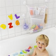 Bath Toy Organizer Net Bathtub Shower Bag Bathroom Corner Toy Holder - 1 Quick Dry Tub Net+ 2 Suction Hooks Keep Toys Dry Without Mold
