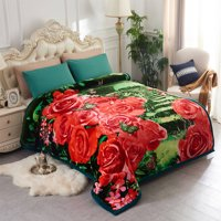 "Double ply Eagle Printed Heavy Thick Super Warm Winter Raschel Mink Blanket Queen Size 79"" x 95"",8lb"