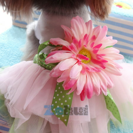 - Daisy Flower Gauze Tutu Dress Pet Dog Bowknot Princess Clothes Pet Only for Small Dog