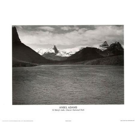 Ansel Adams Glacier National Park - Ansel Adams St. Mary's Lake Glacier National Park Print Poster Mini