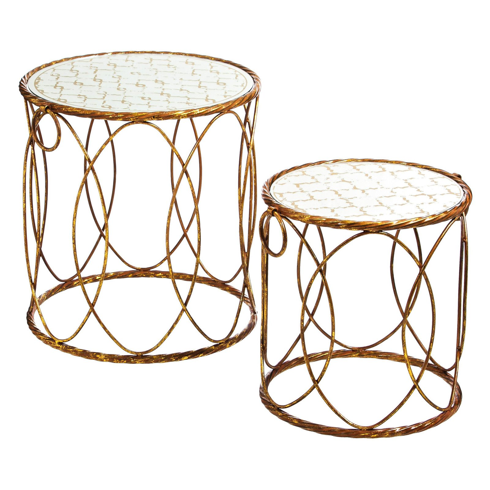 Evergreen Enterprises Gold Nested Set of 2 Metal Round Tables with Printed Mirror Top