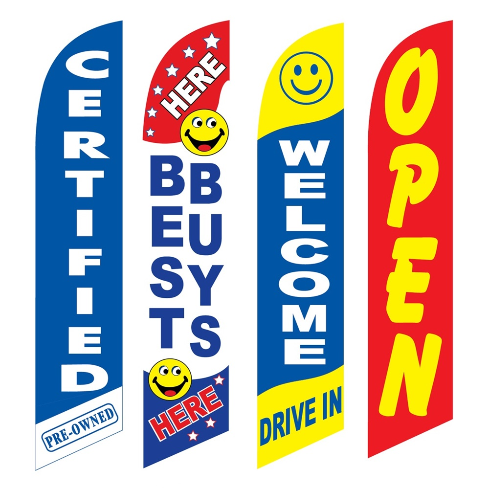 4 Advertising Swooper Flags Certified Pre Owned Best Buys Here Welcome Drive In Open