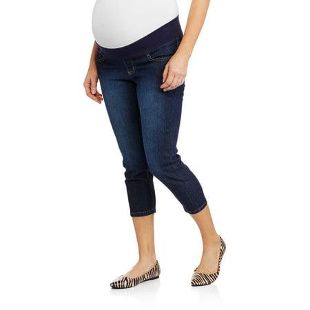 Planet Motherhood Maternity Demi-Panel Denim Capris with Back Flap ...