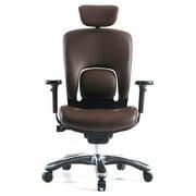 GM Seating Ergolux Genuine Leather Executive Hi Swivel Chair Chrome Base with Headrest, (Brown) , Seat Depth Adjustable