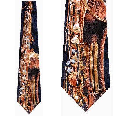 - Giant Saxophone (Navy) Necktie Mens Tie
