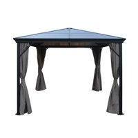 Bali Outdoor 10 x 10 Foot Black Aluminum Framed Gazebo with Curtains, Brown