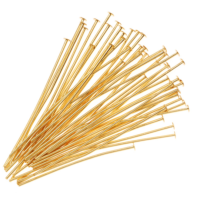 22K Gold Plated Head Pins - 22 Gauge/1.5 Inches (50)