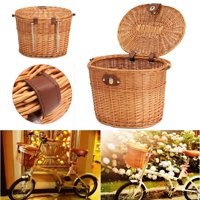 """Wicker Bike Bicycle Front Basket Box Handlebar 13x10x9""""For Shopping Stuff Pets Fruits Carry Accessories New,Brown"""