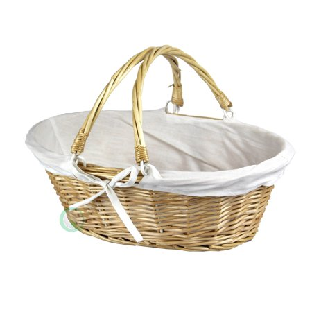 Willow Shelf Basket (Vintiquewise Oval Willow Basket with Double Drop Down Handles )