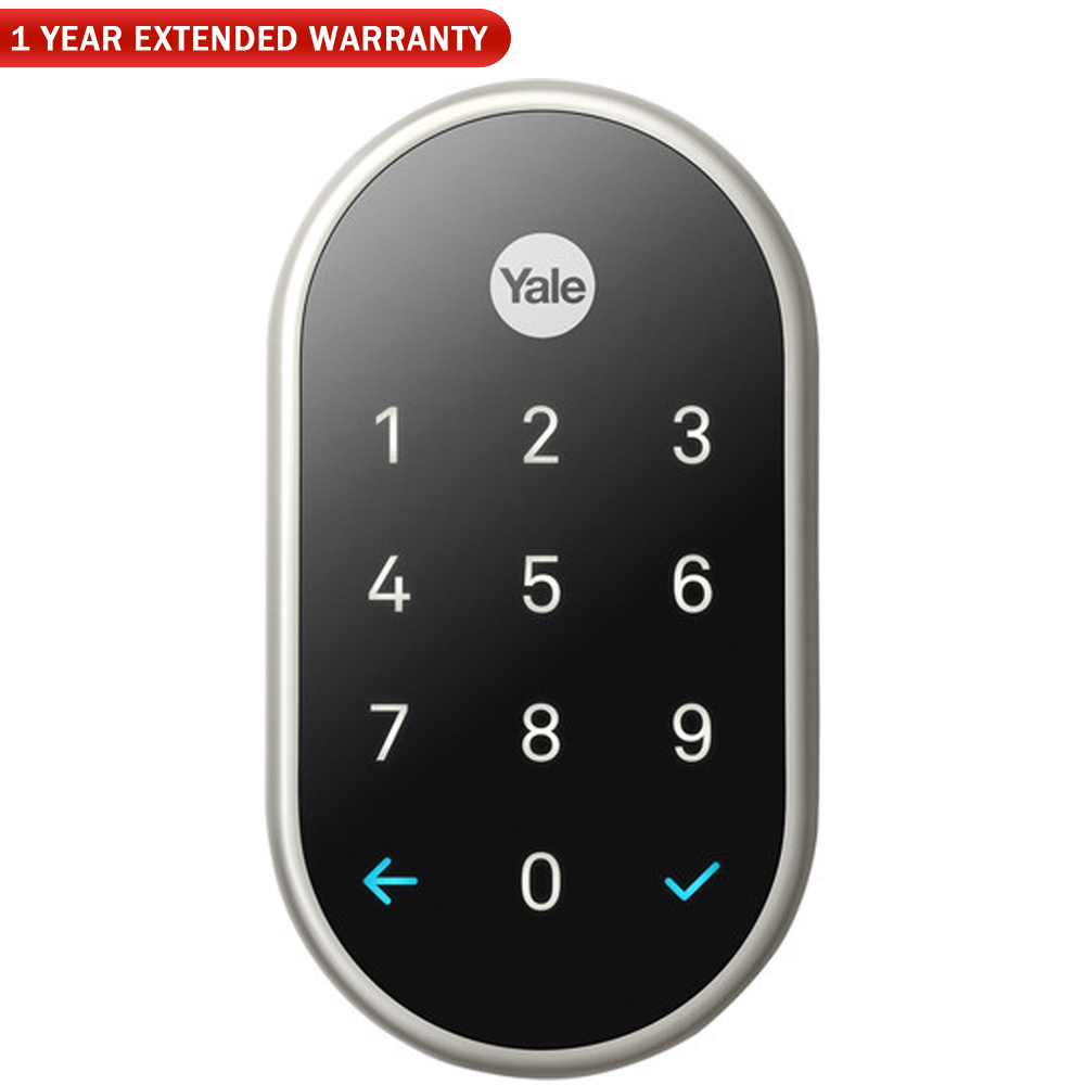 Nest (RB-YRD540-WV-619) x Yale Lock with Nest Connect, Satin Nickel + 1 Year Extended Warranty