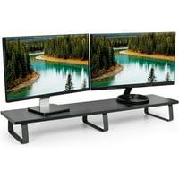 """VIVO Black Wood 39"""" Wide Desktop Stand Ergonomic TV, Dual Monitor Riser and Desk Tabletop Organizer (STAND-V000DL)"""