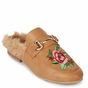 "Wanted SHOES ""Roseanne"" Slip-on Fur Lined Loafer with Rose Embroidery TAN SIZE 10"