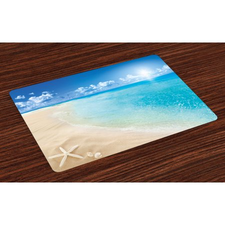 Beach Placemats Set of 4 Sunny Summer Seashore with Clear Sky Seashells Starfish Clouds Aquatic Picture, Washable Fabric Place Mats for Dining Room Kitchen Table Decor,Aqua Cream Blue, by Ambesonne ()
