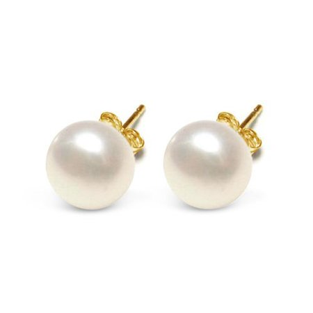 10mm AAA Freshwater Cultured White Pearl Button Stud Earrings 10K Yellow Gold