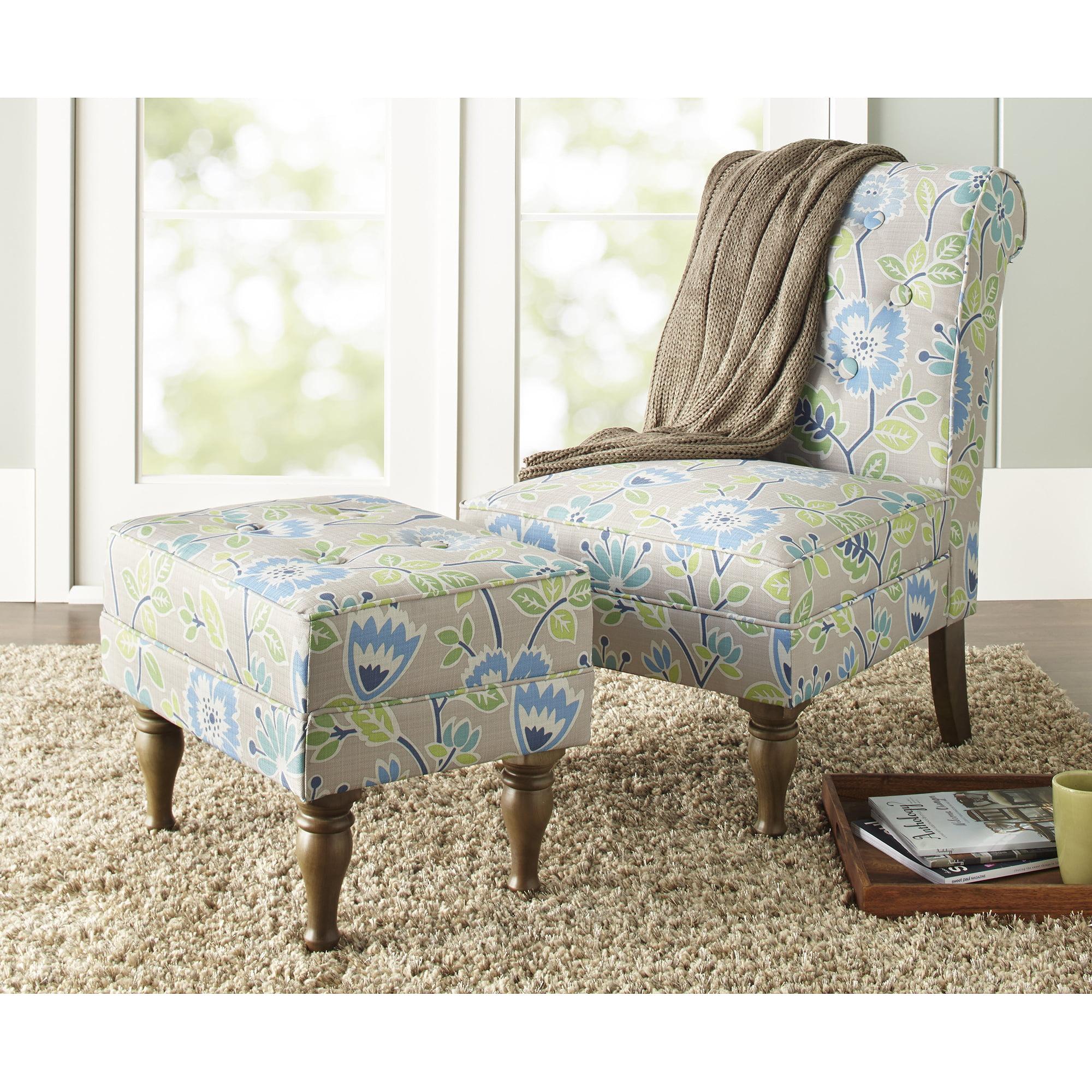 10 Spring Street Preston Floral Chair, Blue - Walmart.com