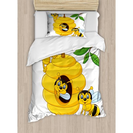 Nursery Twin Size Duvet Cover Set, Branch of Tree with Beehive and Bees Honey Funny Insect Hardworking Mascot, Decorative 2 Piece Bedding Set with 1 Pillow Sham, Yellow Brown Green, by Ambesonne Honey Bee Baby Nursery