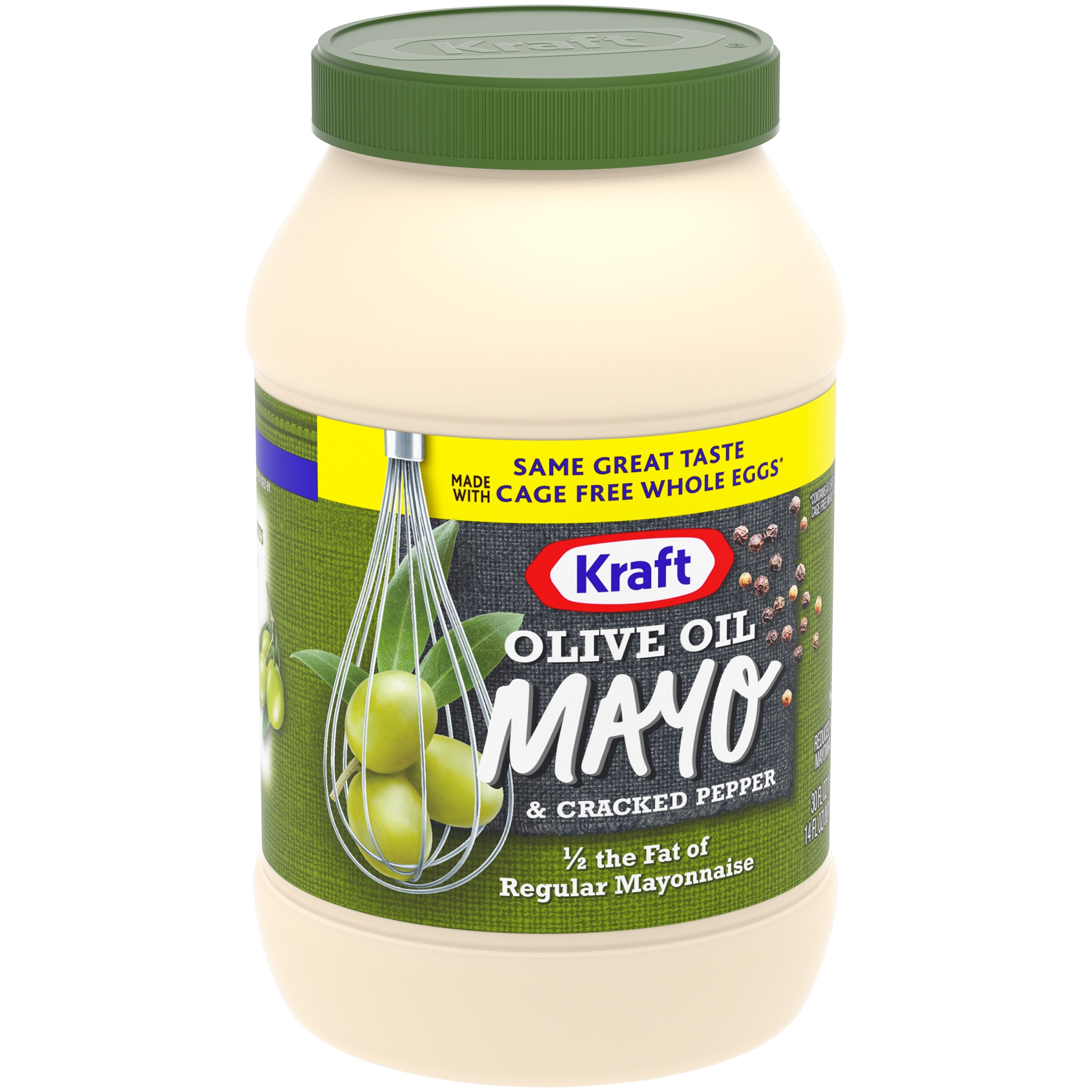 Kraft Olive Oil & Cracked Pepper Reduced Fat Mayonnaise 30 fl. oz. Jar