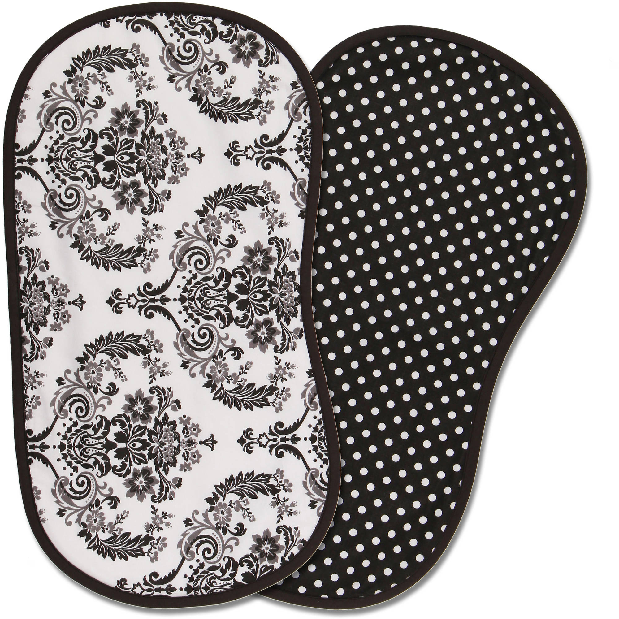 Bacati Classic Damask Burpies, Set of 2, White/Black