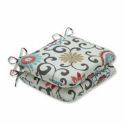 Pillow Perfect Outdoor/ Indoor Pom Pom Play Peachtini Rounded Corners Seat Cushion (Set of 2)