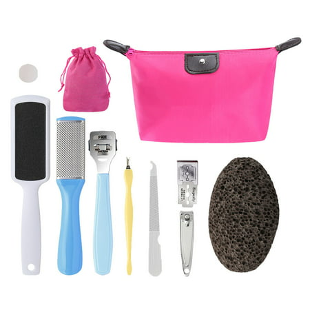 Pretty See 10 in 1 Foot File Set Practical Callus Remover Stainless Steel Pedicure Rasp Tools, Suitable for Removing Cracked and Dead Skin ()