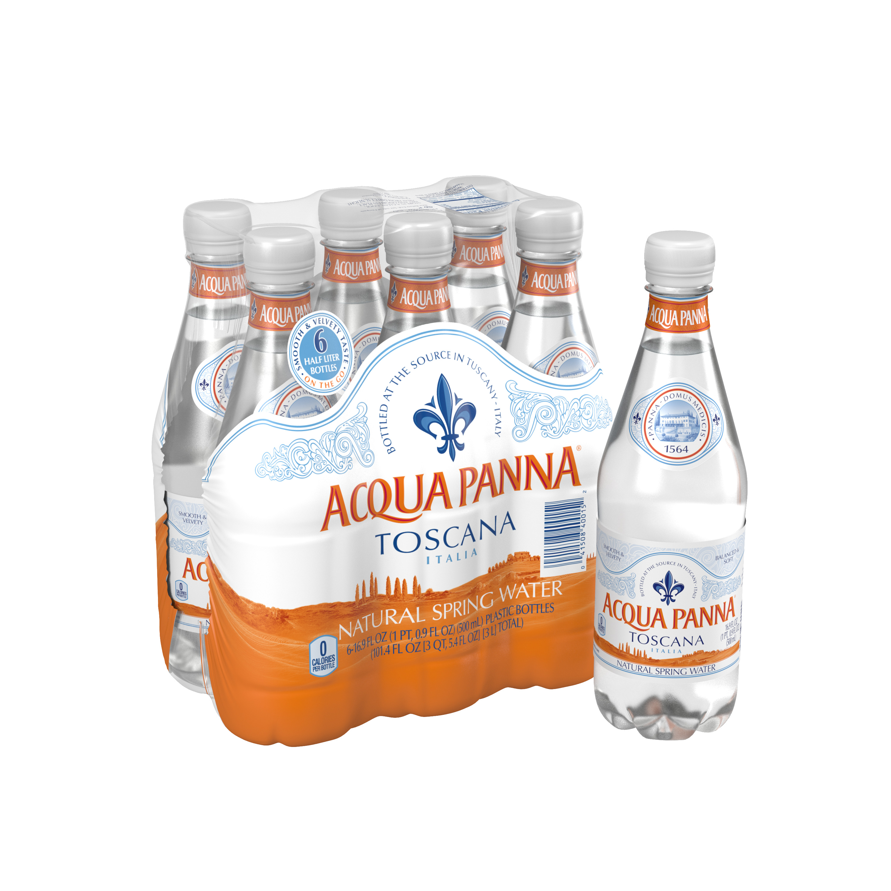 Acqua Panna Natural Spring Water, 16.9 Fl Oz, 6 Ct