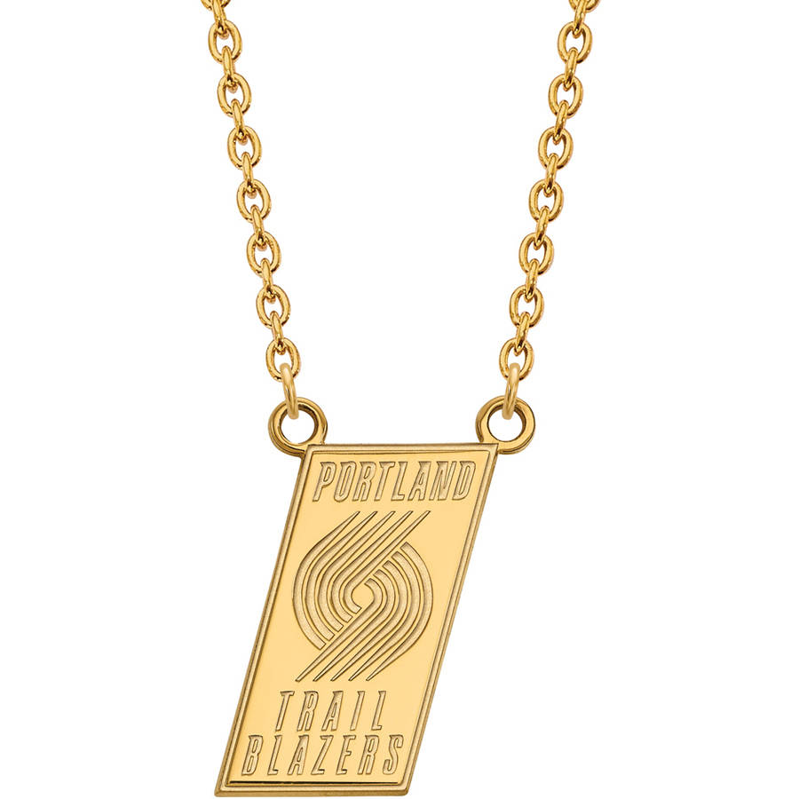 LogoArt NBA Portland Trail Blazers 14kt Yellow Gold Large Pendant with Necklace