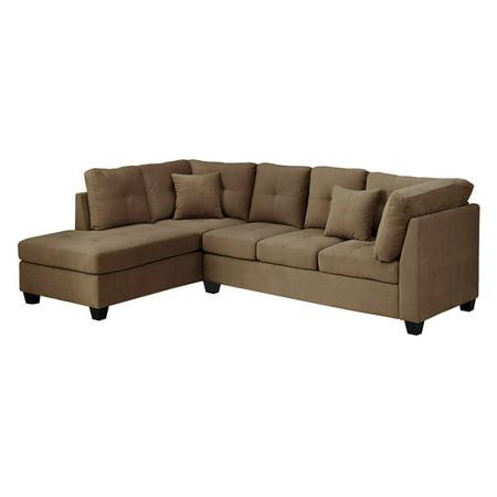Monarch Sofa Sectional Ultra Soft Light Brown Velvet