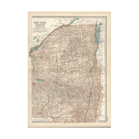 Map of New York State, Northern and Eastern Parts. United States Print Wall Art By Encyclopaedia Britannica
