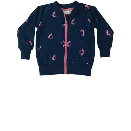 a0d5de7b8f1 Kids Korner - Infant Toddler Girls Navy Blue   Metalic Pink Unicorn Zip-Up Pocketed  Sweater - Walmart.com