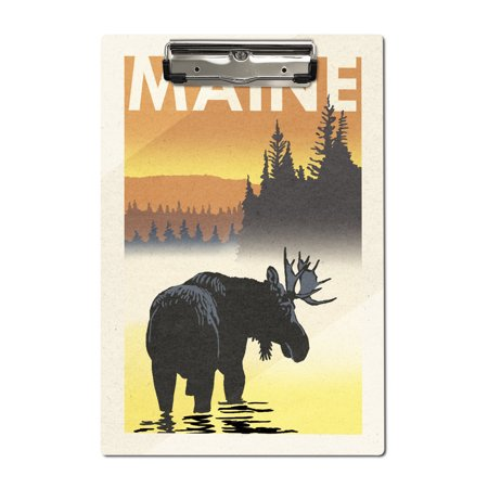 Maine - Moose at Dawn - Woodblock - Lantern Press Artwork (Acrylic