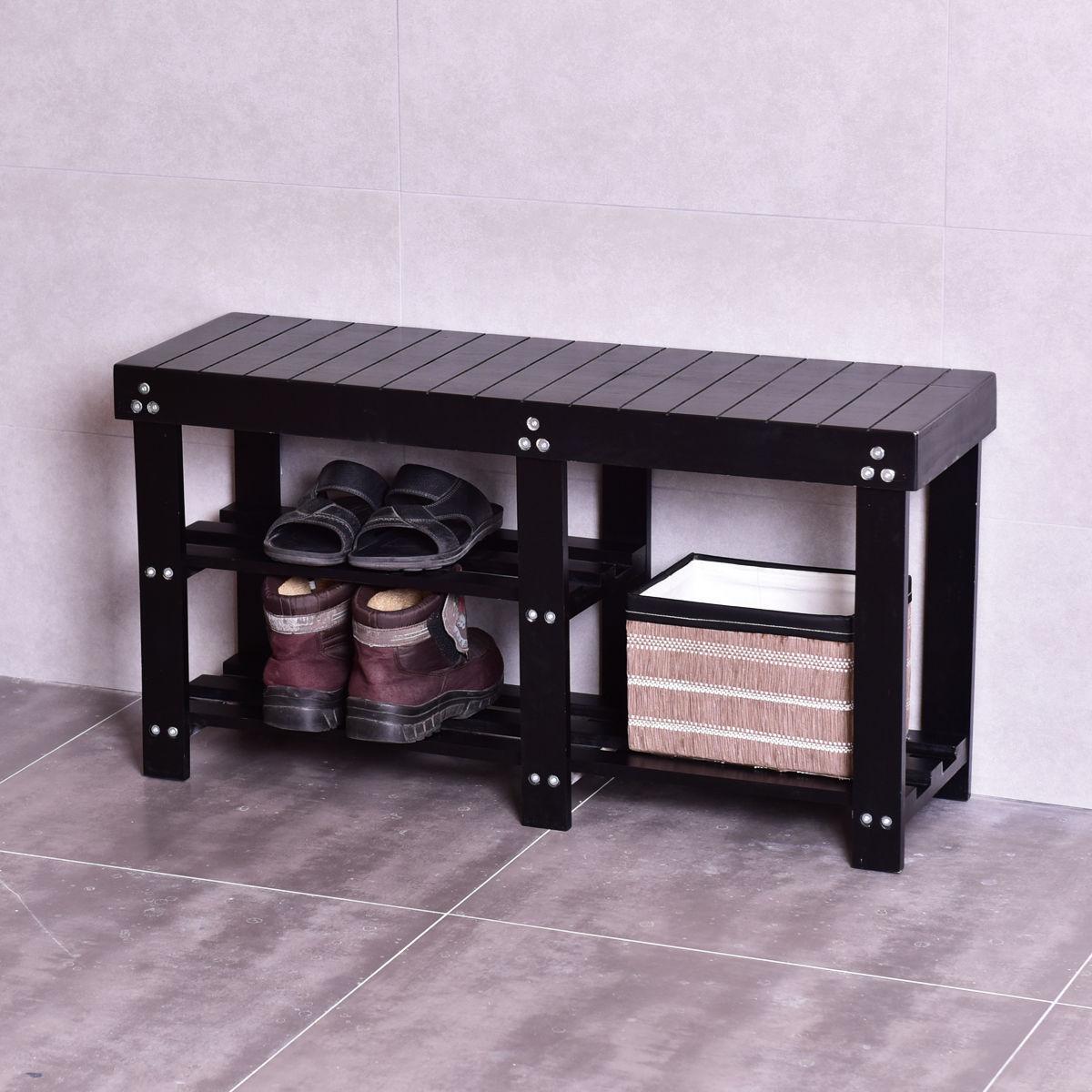 Costway Wooden Shoe Bench Boot Storage Shelf Organizer Se...