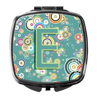 Letter E Circle Circle Teal Initial Alphabet Compact Mirror CJ2015-ESCM