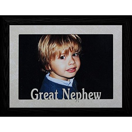 5X7 Jumbo ~ Great Nephew Landscape Picture Frame ~ Laser Cut Cream Marbled Mat With Black Frame ()
