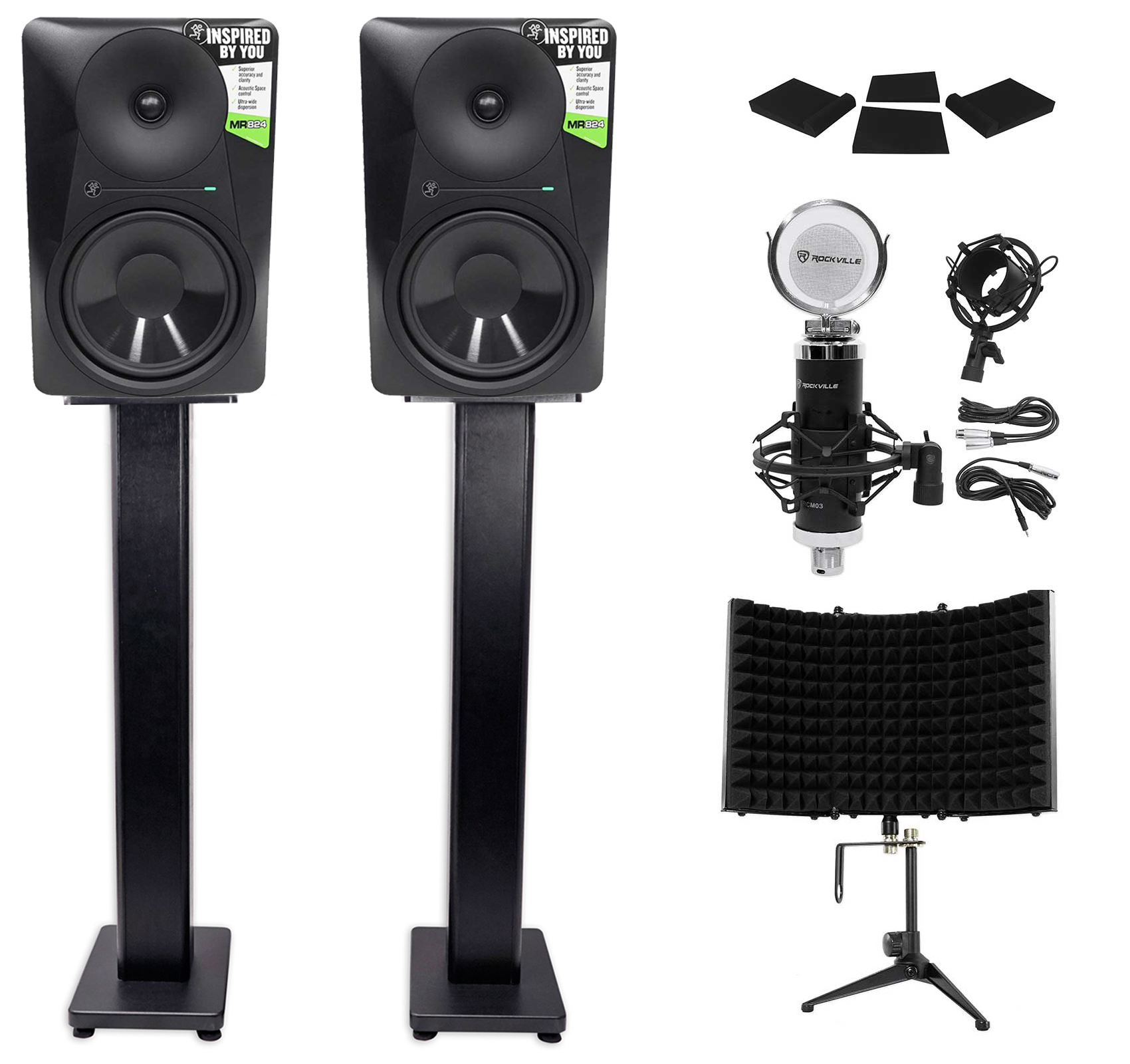 2 Mackie MR824 8� 85w Powered Studio Monitors+Condenser Mic+Stands+Pads+Shield by Mackie