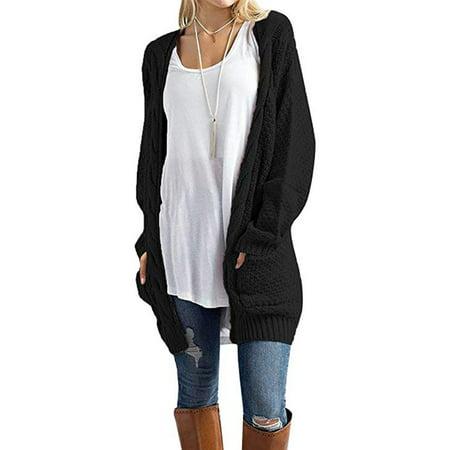 bf621bd2b Issac Live - Women s Open Front Long Sleeve Boho Boyfriend Knit Chunky  Cardigan Sweater - Walmart.com