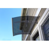 """ADVANING 47""""x35"""" Solid Polycarbonate Door Awning, PA Series, Tinted Gray Sheet, Aluminum Brackets, DA4735-PSS2A"""