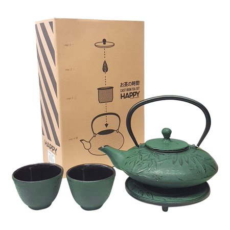 Happy Sales HSCT-DBL12  Cast Iron Tea Pot Tea Set Dragonfly 21-OZ Blue