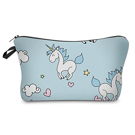 StylesILove Unique Unicorn Collection Pouch Travel Case Cosmetic Makeup Bag (Baby Blue) - Unicorn Halloween Costume Makeup