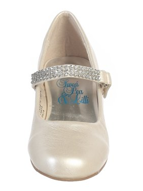 Girls Ivory Rhinestone Strap Mia Occasion Dress Shoes 11-4 Kids