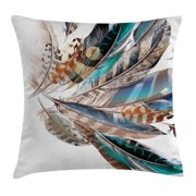 Feather House Decor Throw Pillow Cushion Cover, Vaned Types and Natal Contour Flight Feathers Animal Skin Element Print, Decorative Square Accent Pillow Case, 24 X 24 Inches, Teal Brown, by Ambesonne