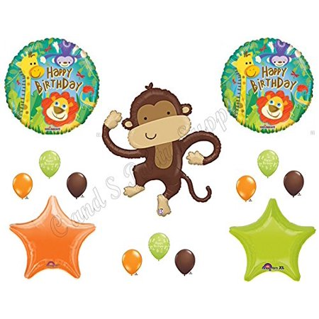LINKY MONKEY Safari Jungle Happy Birthday Party Balloons Decoration (Seek Safari Monkey)