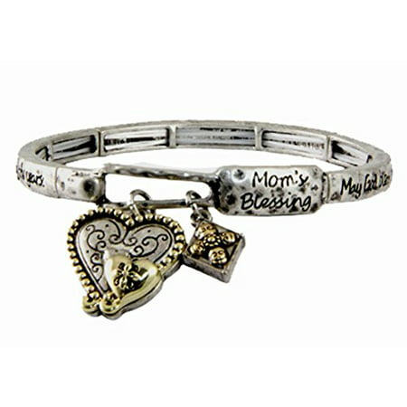 MOM Blessing Stretch Bracelet Heart Charm Mothers day (Bracelets For Mother's Day)