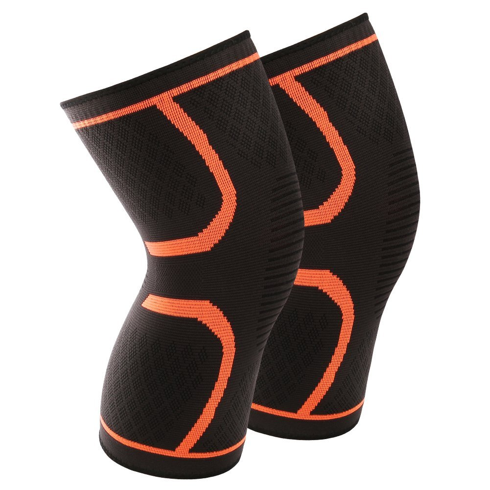 1 Pair Knee Compression Sleeves Warm Keeping Joint Injury Recovery Aid Arthritis Pain Relief Brace Sports Support Pads for Running, Hiking, Basketball, for Women Men Kids(M, Orange)