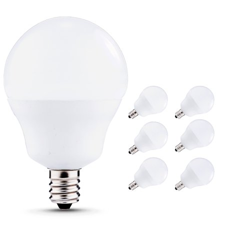 Led Candelabra Bulbs E12 Base, 40W Equivalent (5W), 450lm, Natural Daylight White 4000K, G14 LED Globe Bulbs for Ceiling Fan, Bathroom Vanity Mirror Light, 6 Pack