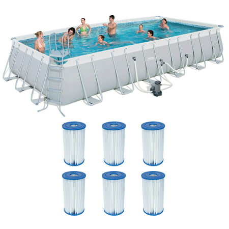 Bestway 24ft x 12ft x 52in Above Ground Pool & Cartridges Type IV/B (6 Pack) -  56542E-BW + 6 x 58095E-BW