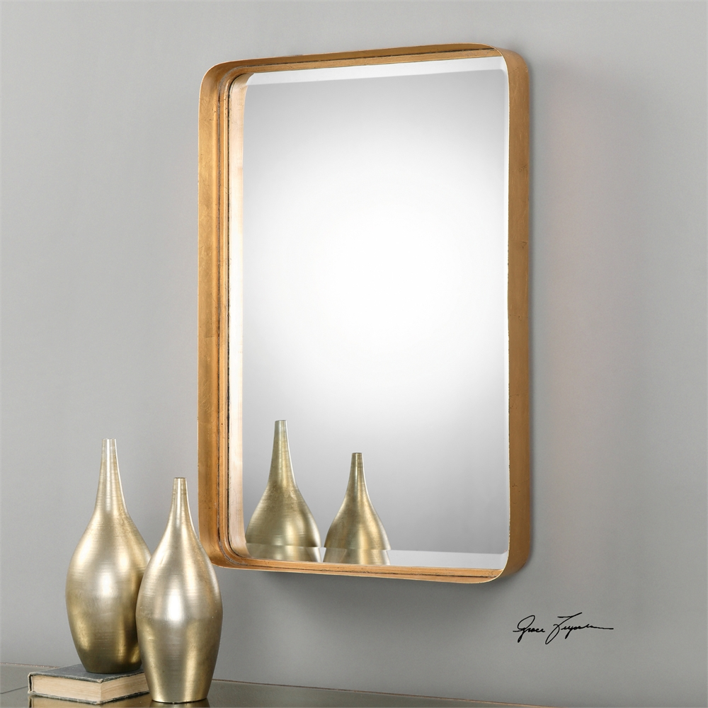 """30"""" Metal Tray Style Antique Gold Decorative Beveled Wall Mirror"""