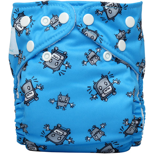 Charlie Banana 2-in-1 Reusable Diapering System, 1 Diaper and 2 Inserts, (One Size), Robot Boy