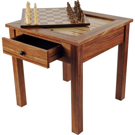 Trademark Games Wooden 3-in-1 Chess/Backgammon Table
